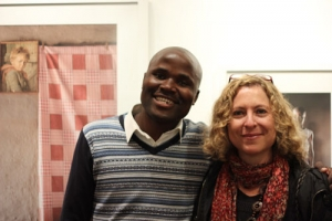 Jabulani Dhlamini and his mentor, Jodi Bieber during the exhibition.