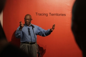 Dr Mongane Wally Serote speaking during the opening of Tracing Territories.